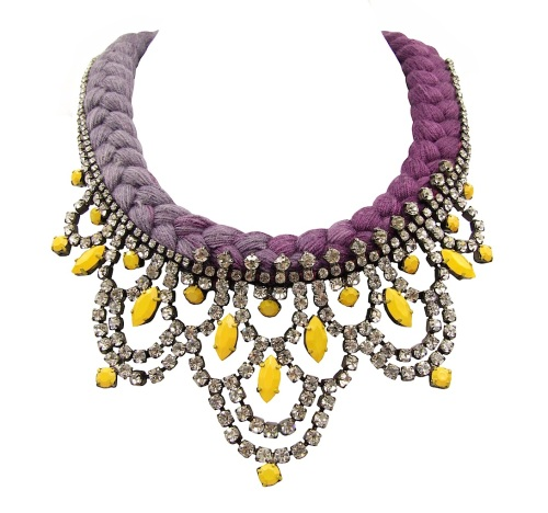 Colourful Malaga statement necklace by Jolita Jewellery with dip-dyed silk in aubergine, gradually changing to maroon and hand-painted crystals
