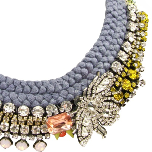 Luxury Montmartre statement necklace by Jolita Jewellery is made with a double collar hand-dyed silk braid, embellished with a multitude of clear, pink and yellow Swarovski crystals, neon pearls and a beaded bug,
