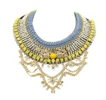 Luxury Moulin Rouge statement necklace by Jolita Jewellery, made with hand-dyed light charcoal silk and an array of dipped in gold crystals intricately stitched together over a period of several days to form an opulent statement necklace.