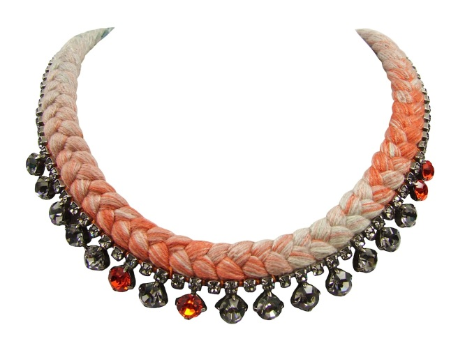 Tokyo necklace by Jolita Jewellery, made with a beautiful multicoloured silk braid gradually changing between grey and terracotta, hand-dyed in our studio. Adorned with a grey Swarovski crystal necklace, mixing in a few brighter crystals.