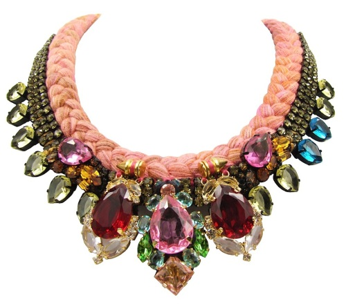Cannes Luxe statement necklace by Jolita Jewellery, created with hand-dyed silk braid and colourful crystals