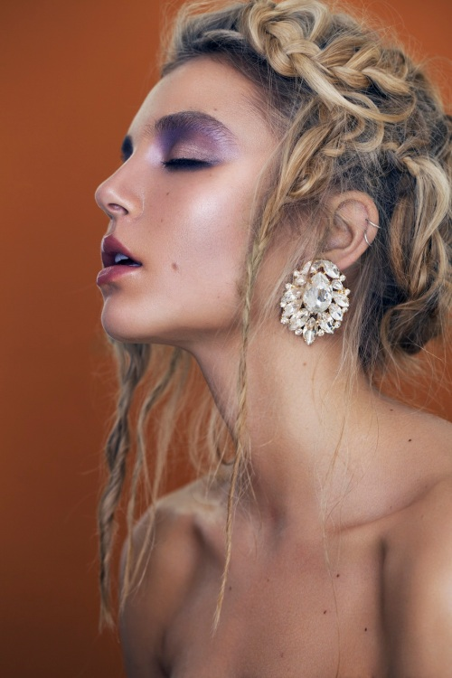 From beauty editorial - Casablanca statement earrings by Jolita Jewellery  in clear crystals