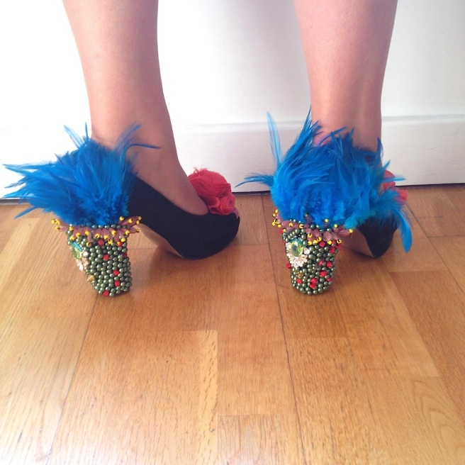 Jolita customised heels, embellished with feathers, crystals and hand-made flowers