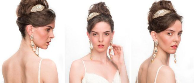 Wedding Magazine Bridal hair and beauty tutorial: the beach bride, wearing Jolita Jewellery's shoulder sweeping clear crystal Duchess statement earrings