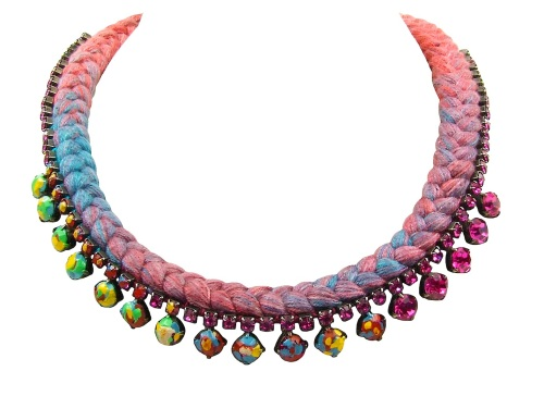Lille necklace by Jolita Jewellery, created with multicoloured hand-dyed silk and hand-painted Swarovski crystals, inspired by Jackson Pollock's paintings