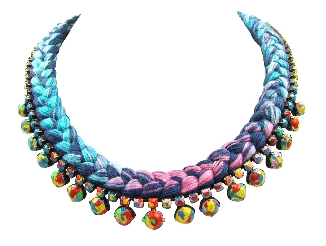 Livorno necklace by Jolita Jewellery, created with multicoloured hand-dyed silk and hand-painted Swarovski crystals, inspired by Jackson Pollock's paintings