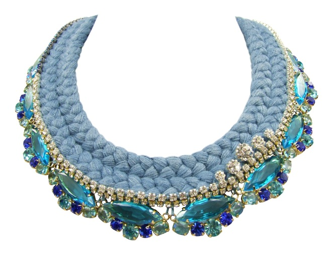 Beautiful Paris statement necklace made with a double collar silk braid in gun-metal grey, hand-dyed by Jolita Jewellery designer in his London studio. The silk braid is embellished with aquamarine blue crystals dipped in gold and a small row of clear crystals, intricately hand-stitched right above the bigger crystals.