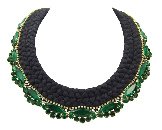 Beautiful statement necklace made with a double collar silk braid in black, hand-dyed by Jolita Jewellery designer in his London studio. The silk braid is embellished with emerald green crystals dipped in gold and a small row of clear crystals, intricately hand-stitched right above the bigger crystals.