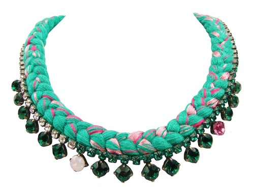 This beautiful handmade statement necklace is made with green silk braid, mixing a few shades of pink,  and emerald green Swarovski crystals.