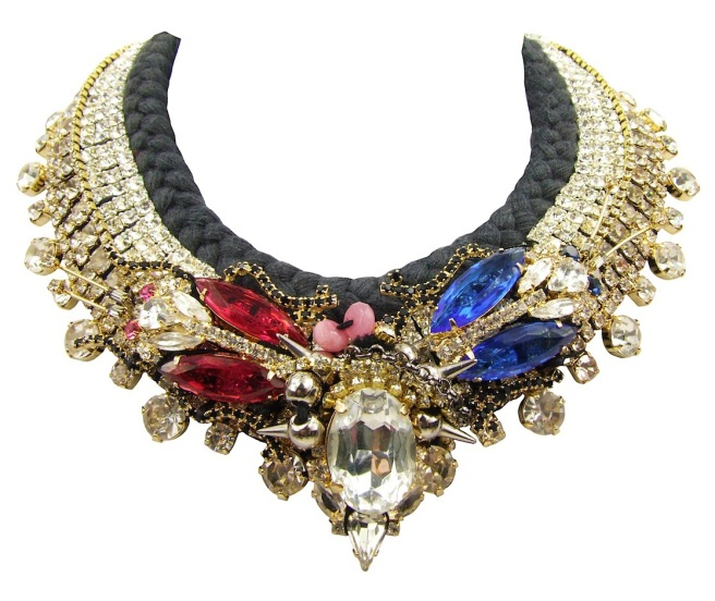 Luxury Seychelles Luxe statement necklace by Jolita Jewellery created with hand-dyed silk, dipped in gold crystals and two crystal beetles