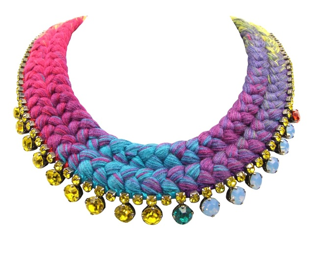 This bright statement necklace is created with a double collar hand-dyed silk braid in a multitude of colour splashes, and vibrant Swarovski crystals.