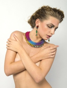 From the recent beauty shoot - in our green Debutante statement earrings and new Rio double collar statement necklace