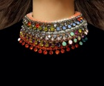 Colourful statement necklaces by Jolita Jewellery, created with vibrant Swarovski crystals and hand-dyed silk braid