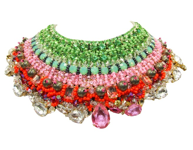 Luzury Czarevna collar by Jolita Jewellery, heavily embellished with Swarovksi crystals, semi-precious stones and beads, using couture technique.