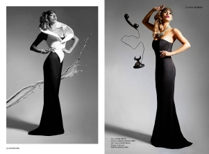 Institute magazine - Dali editorial in Jolita Jewellery statement pieces: black and white - clear crystal Duchess statement earrings and one-of-a-kind crystal cuff. Image on the right - luxury Medeleine braided statement necklace.