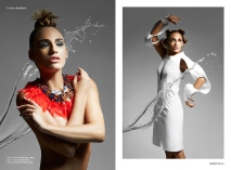Institute magazine - Dali editorial in Jolita Jewellery statement pieces: red feather statement necklace, embellished with Swarovski crystals, image on the right - crystal Debutante statement earrings