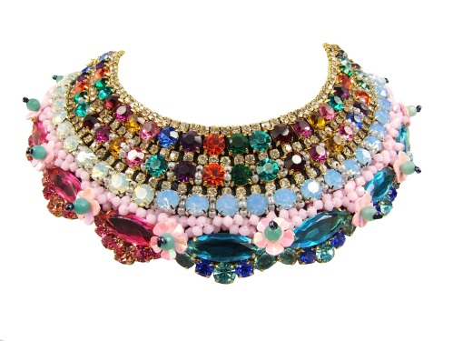 Luxury Duchess collar by Jolita Jewellery, heavily embellished with Swarovski crystals, semi-precious stones and beads, using couture technique.