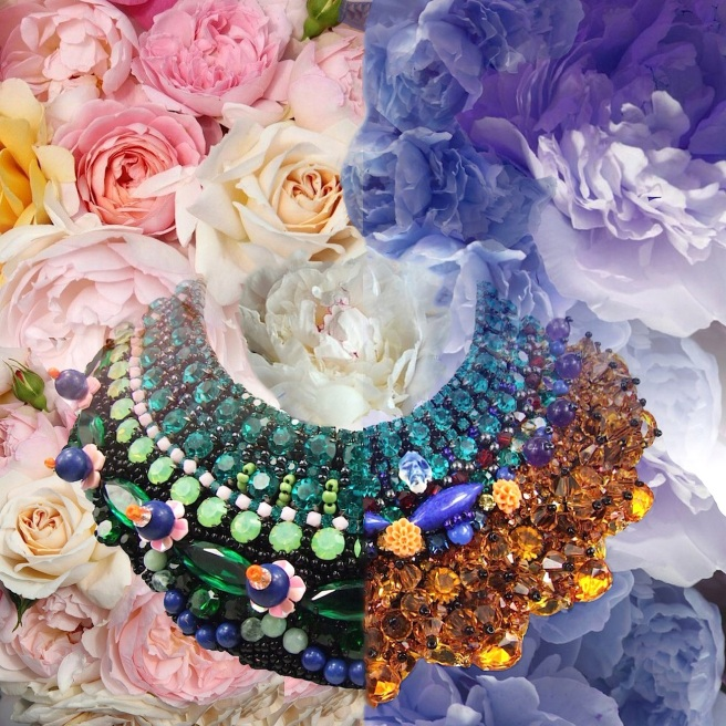 Happy Monday! Floral colour inspiration in Jolita Jewellery's luxury statement collars