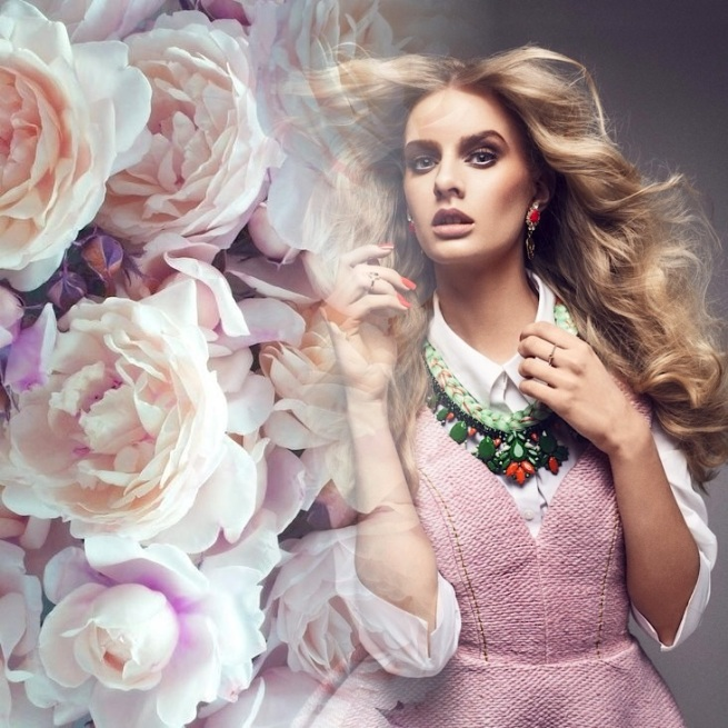 From the SHE editorial, in Jolita Jewellery's Hamptons statement necklace and skull earrings, fused with flowers