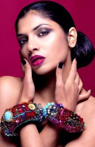 From a beauty shoot - in Jolita Jewellery's statement bangles, hand-made with vintage and new components