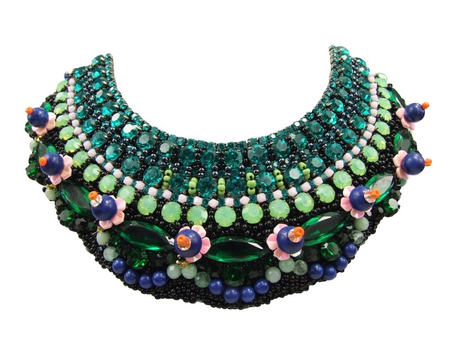 Luxury Czarevna collar by Jolita Jewellery, heavily embellished with Swarovski crystals, semi-precious stones and beads, hand-made using couture technique.