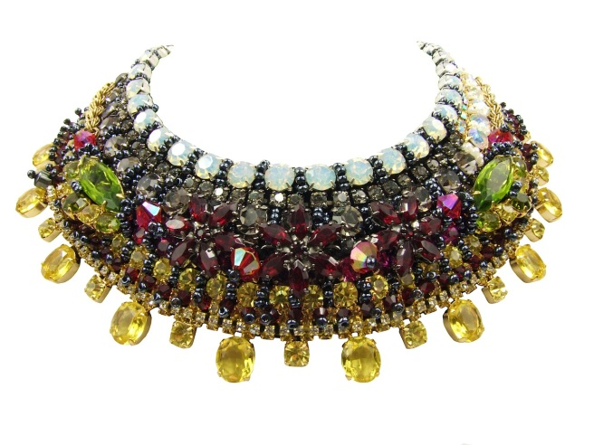 Luxury Duchess collar by Jolita Jewellery, heavily embellished with Swarovski crystals, semi-precious stones and beads. Handmade using couture technique.