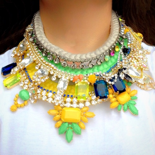 Vibrant Jolita Jewellery statement necklaces, made with hand-dyed silk braid and colourful  crystals