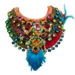 Vibrant Jolita Jewellery statement pieces, made with hand-dyed silk and colourful crystals