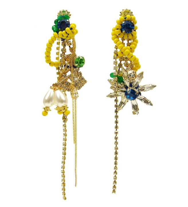 Colourful Deconstructed crystal earrings by Jolita Jewellery, made with vibrant Swarovski crystals, chains and faux pearls
