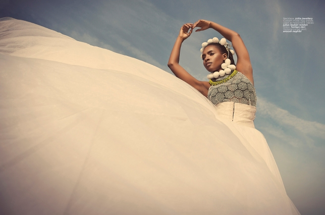 Eyo Brides editorial for Blanc Digital magazine in Jolita Jewellery statement pieces