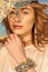 Bridal Boho Editorial for Want That Wedding: in Jolita Jewellery's St.Petersburg necklace, Duchess crystal earrings and Chaos crystal cuff