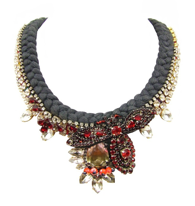 Shanghai statement necklace by Jolita Jewellery, created with hand-dyed charcoal silk, which is adorned with an array of dipped in gold clear and red crystals, and embellished with red hand-beaded bug.