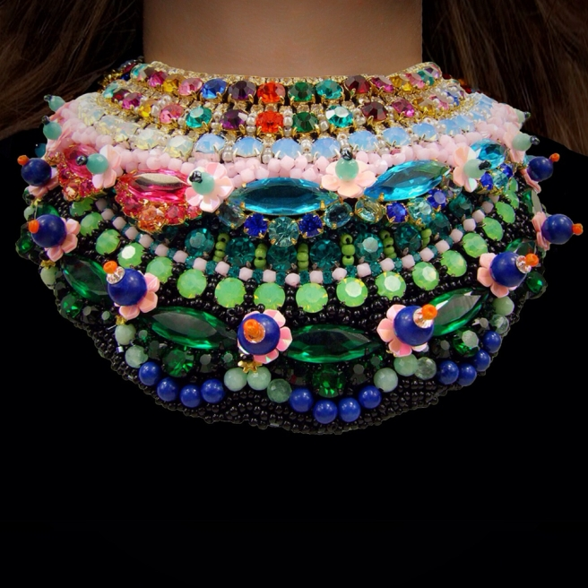 Jolita Jewellery's Luxury collars, hand-made using couture beading technique with colourful crystals