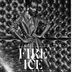 Fire and Ice black and white editorial - In Jolita Jewellery's Duchess crystal earrings