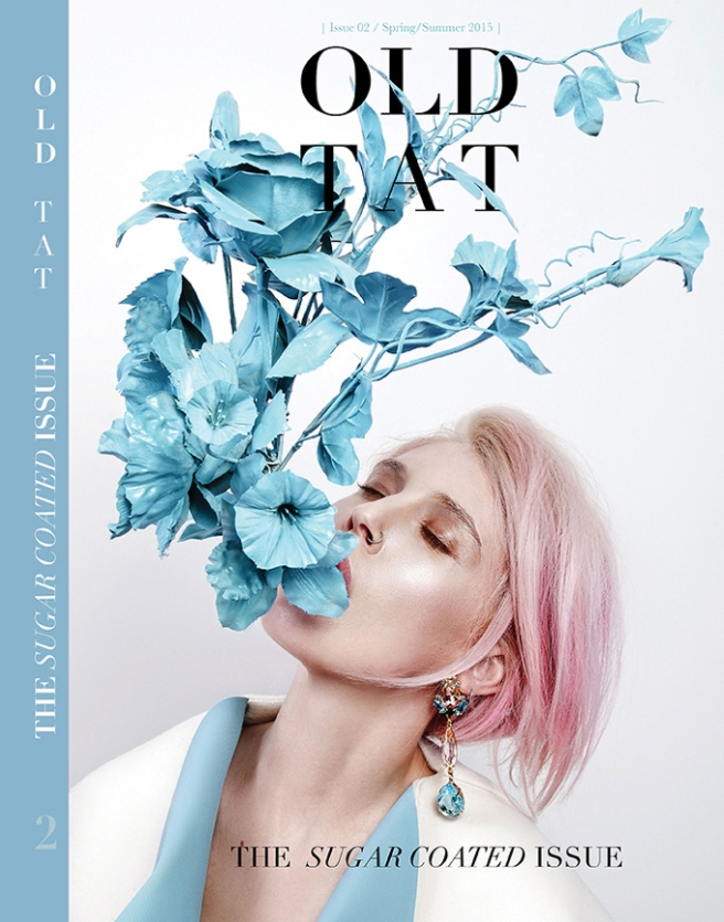 Old Tat Spring Issue Cover - In Jolita Jewellery's pink Countess crystal earrings
