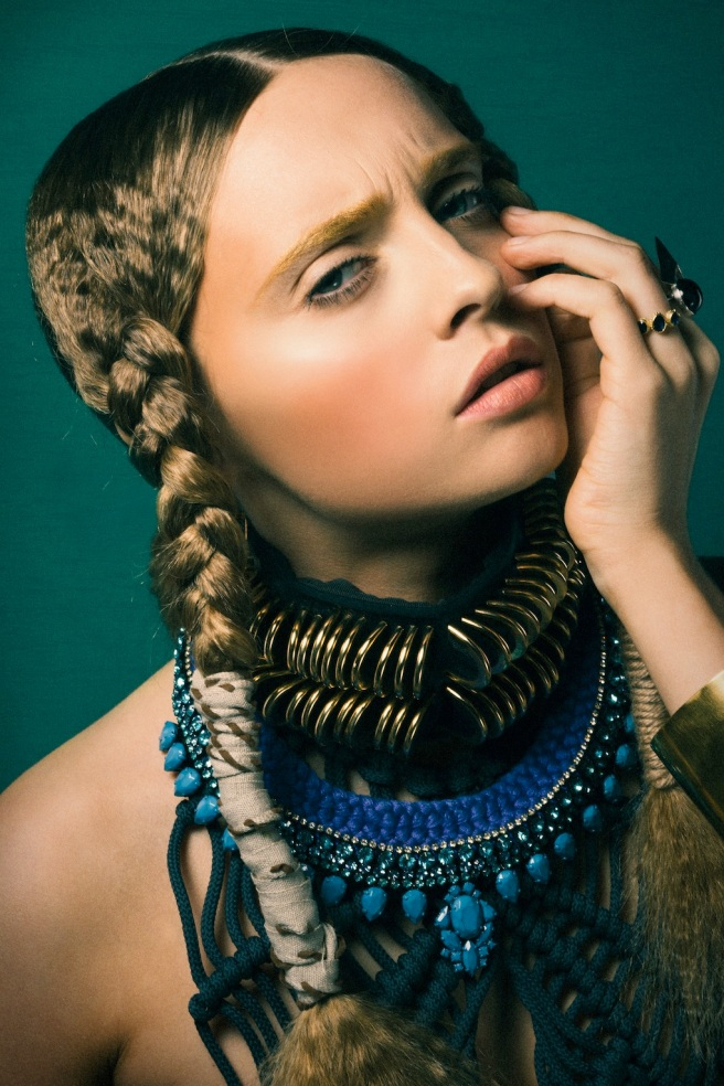 Santorini Luxe statement necklace by Jolita Jewellery, created with hand-dyed silk braid and hand-painted crystals