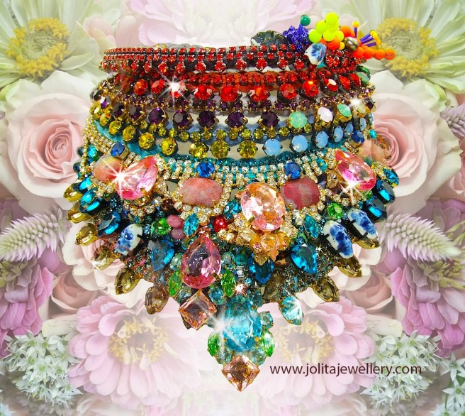 Luxury hand-made statement necklace by Jolita Jewellery, created with hand-dyed silk and crystals. Inspired by colours of flowers
