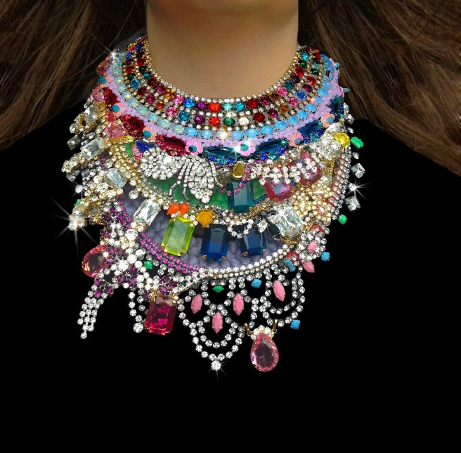 Luxury Jolita Jewellery necklaces, handmade with colourful Swarovski and other crystals and hand-dyed silk