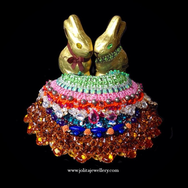 Easter bunnies in Jolita Jewellery's Swarovski crystal collars