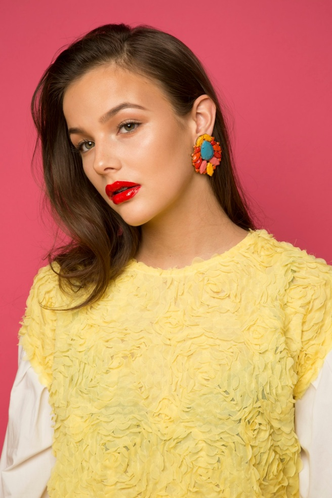 Beauty photoshoot - in luxury Jolita Jewellery's Madrid statement earrings, hand-painted and dipped in gold