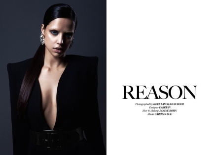 Institute Magazine, Reason Editorial, April 2015 - in Jolita Jewellery's crystal Casablanca statement earrings