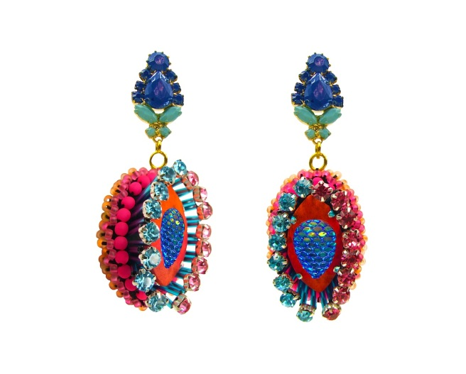 Luxury statement earrings by Jolita Jewellery, hand-made using couture technique. Created with neon beads, crystals and hand-painted silk.