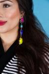 From Aywa London abaya look-book shoot - in colourful Frenemy statement earrings by Jolita Jewellery