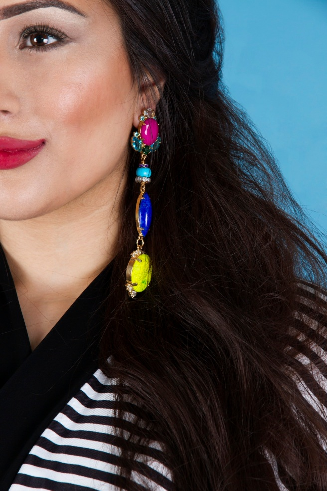 From Aywa London abaya look-book shoot - in colourful Frenemy statement earrings by Jolita Jewellery