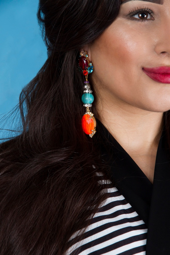 From Aywa London abaya look-book shoot - in colourful Time To Make You Mine statement earrings by Jolita Jewellery