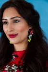 From Aywa London abaya look-book shoot - in colourful Techno statement earrings by Jolita Jewellery