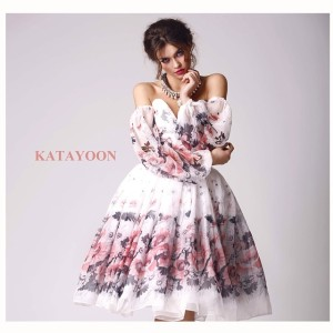 Katayoon SS15 floral dress, accessorised with Jolita Jewellery's Casablanca Luxe statement necklace, created with hand-dyed silk braid and dipped in gold clear crystals
