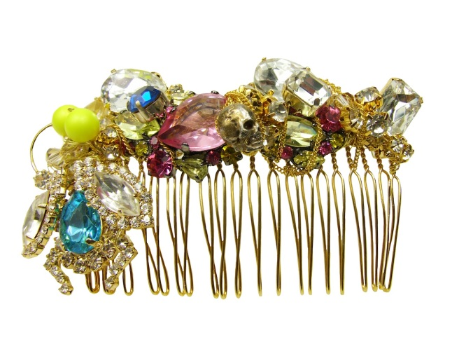 Luxury hair comb by Jolita Jewellery, hand-made using Swarovski and other crystals, skulls, neon pearls, chains and a crystal bug