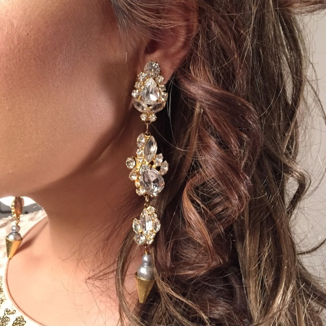 Duchess crystal earrings by Jolita Jewellery created with dipped in gold crystals and faux pearls
