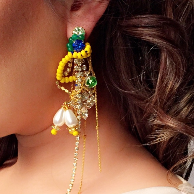 Colourful Deconstructed Crystal statement earrings by Jolita Jewellery created with dipped in gold crystals, chains, faux pearls and colourful Swarovski crystals